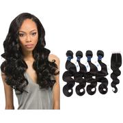 Natural Color 4 Pcs Body Wave Braiding Hair  Weave Bundles With Closure Remy Hair retail