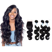 Remy 3 Bundles Body Wave Natural Colored Human Hair Extension With Closure retail