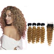 Deep Wave Clip In Hair Extensions 4 Bundles With Closure #1B27 Hair Weaving retail