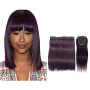 Straight Human Hair 4 Bundle Deals With Closure #135 Grape Purple Color New retail