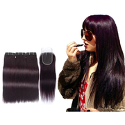 3 Bundles Of Virgin Hair Weave Human Hair Straight With Closure #135 Colored Fashionable retail