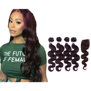 Body Wave Hair Weave 4 Bundles With Closure #135 Grape Purple Silkly And Softly retail