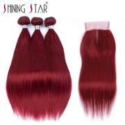 Hot Red 99J Brazilian Hair Straight 3 Bundles With Closure Burgundy Human Hair Weave Bundles With Closure retail