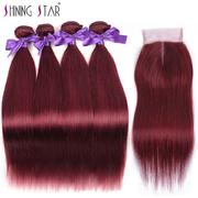 Burgundy Brazilian 4 Bundles With Closure Straight Red 99J Bundles With Closure 100% Human Hair Weave Blend Well retail